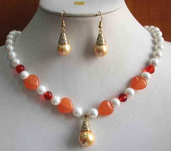 Jewelryr Pearl Set мода 8 мм смешанный цвет оболочки груша / нефрит ожерелье серьги кулон комплект ювелирных изделий природных ювелирных изделий Бесплатная доставка