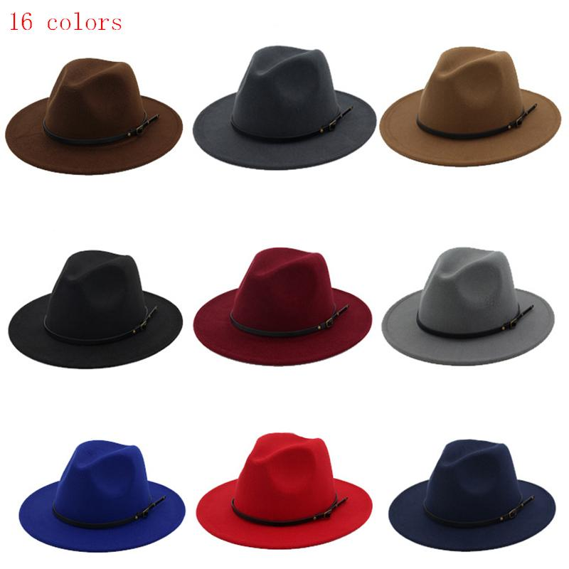Womens Mens Vintage Wide Brim Belt Buckle Fedora Hat Wool Felt Outback Hats Panama Hat Unisex Jazz Caps