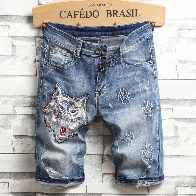 Männer Blue Denim Shorts Neue Sommer Männer Stickerei Beiläufige Kurze Jeans Hochwertige Baumwolle Gerade Jeans Löcher Jean Shorts