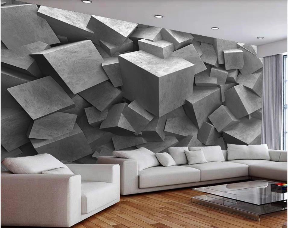 murales de papel pintado 3D para la sala de estar 3D estereoscópica de ladrillo gris fondos de pantalla pared del fondo 3D