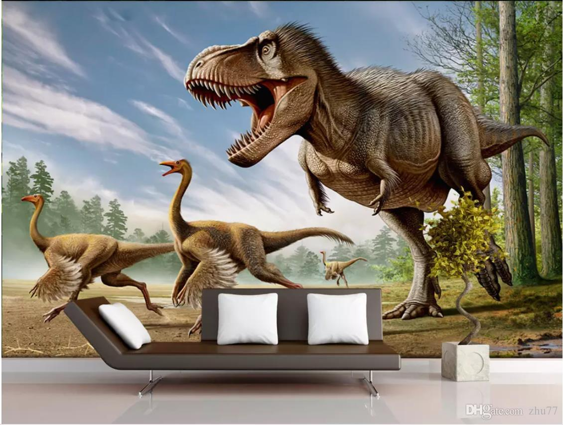 Papel tapiz fotográfico personalizado para paredes 3 d murales papel pintado Mural de dibujos animados Fondo de dinosaurio 3D pared pintura decorativa papeles de pared decoración para el hogar