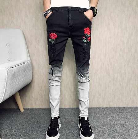 Yaz Yeni Skinny Jeans Erkekler 2018 Moda Çiçek Nakış Erkekler kot Rahat Slim Fit Siyah Hip Hop Denim Pantolon Erkekler Pantolon