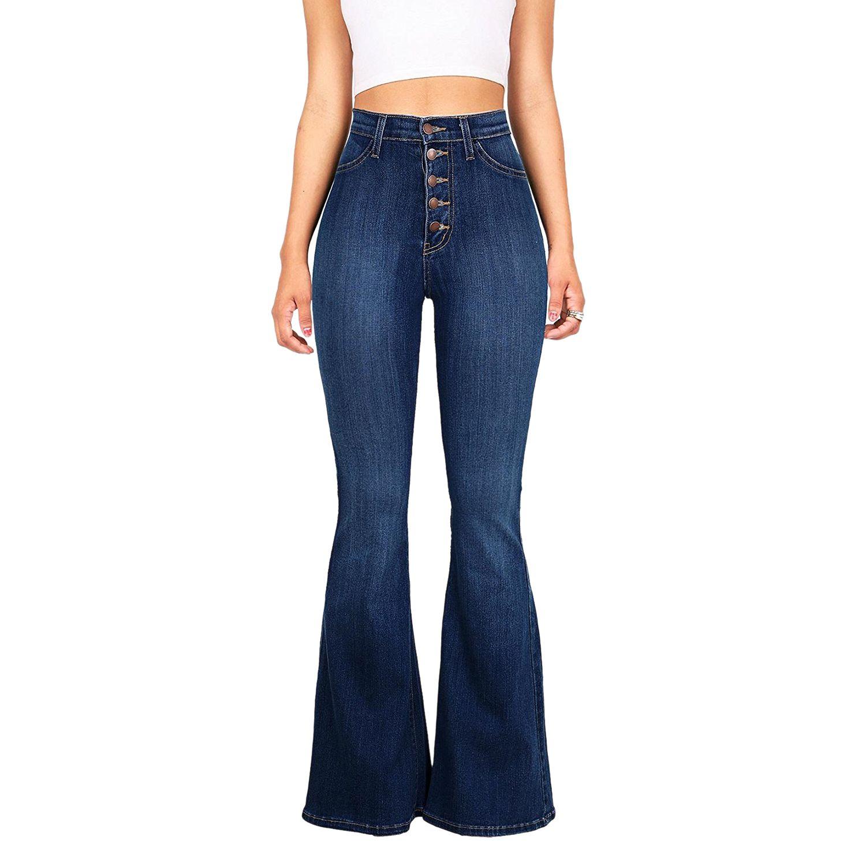 Mujer Vaqueros Acampanados Vintage Cintura Alta Pantalones Largos Skinny Slim Fit Denim Pantalones Color Solido Tamano Grande Flare Jeans S 4xl Vaqueros
