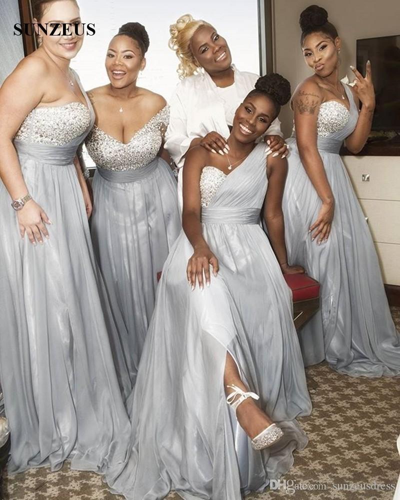 Vestiti Da Cerimonia Donna.One Shoulder Silver Grey Chiffon Bridesmaid Dresses Sequins Beaded