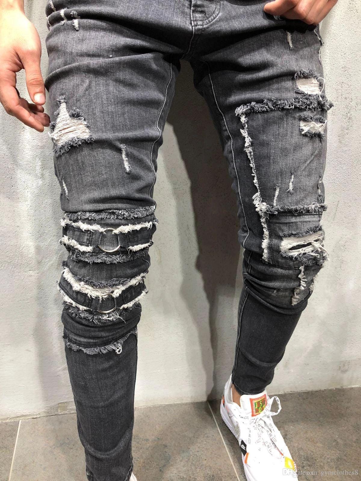 Jeans maschii del progettista depresso Jeans dei fori di modo Pantaloni mascherati Skines lavati Mens Pantaloni della matita degli uomini Vestiti maschii