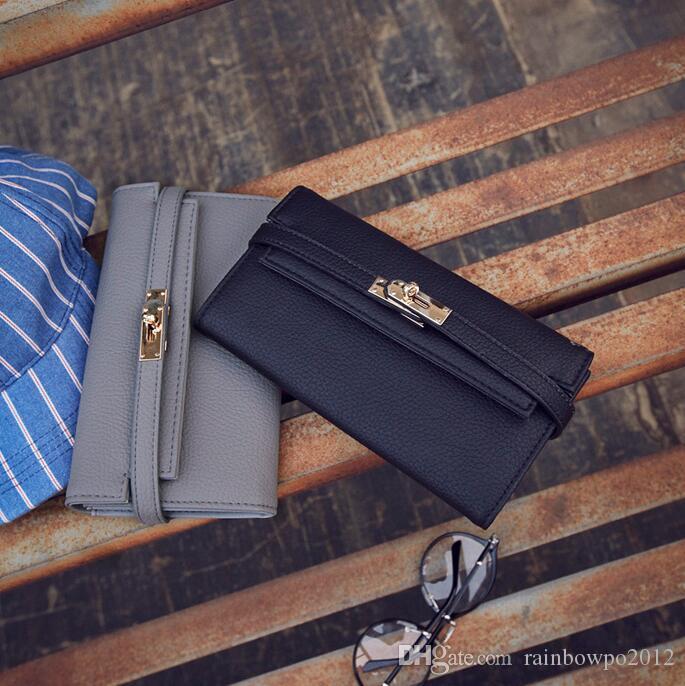 Factory wholesale brand women handbag new Joker leather long wallet fashion buckle clutch bag elegant belt decorated women wallet