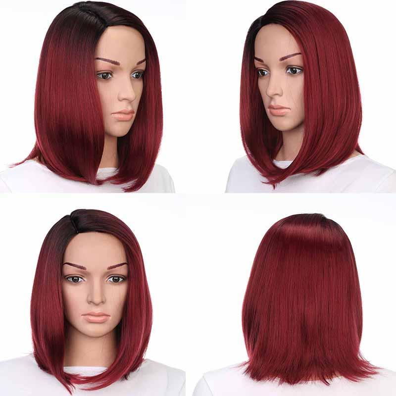 B Synthetic Straight Bob Wigs Natural Hairline Fashionable 140g /Piece Good Quality Heat Resistant Fiber Color R2 -138 13inch