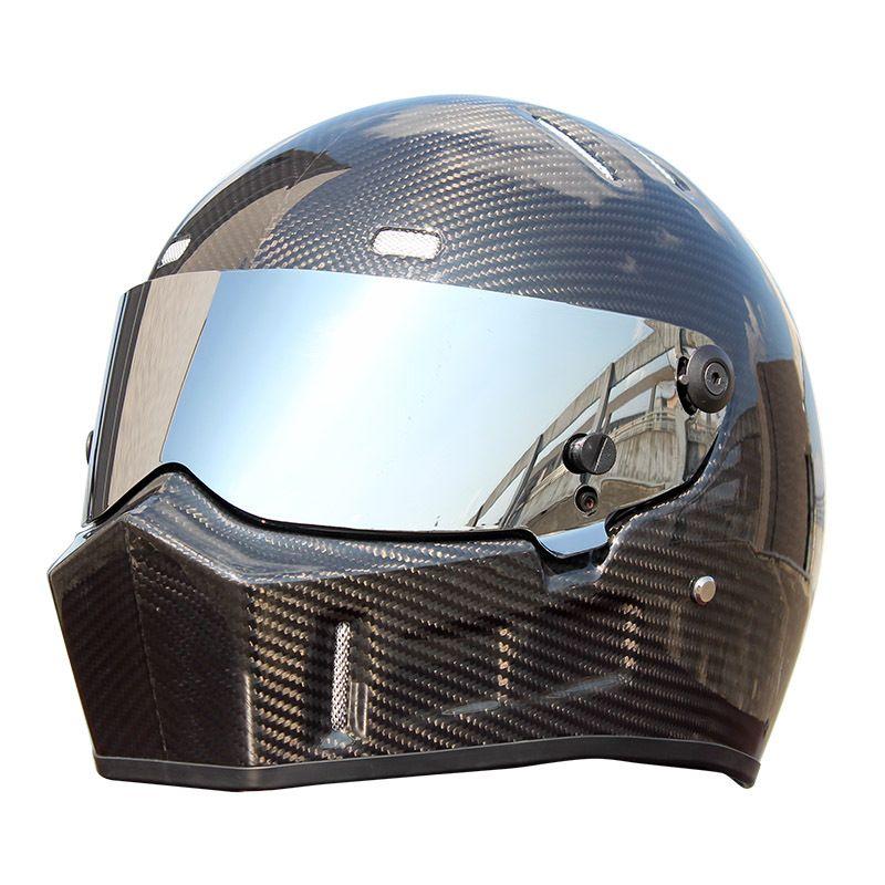 Safe Motorcycle Helmet Full Face Carbon Fiber Racing Karting Car Helmet Off Road Moto Downhill Helmet Vintage Casco Moto Casque DOT Approved