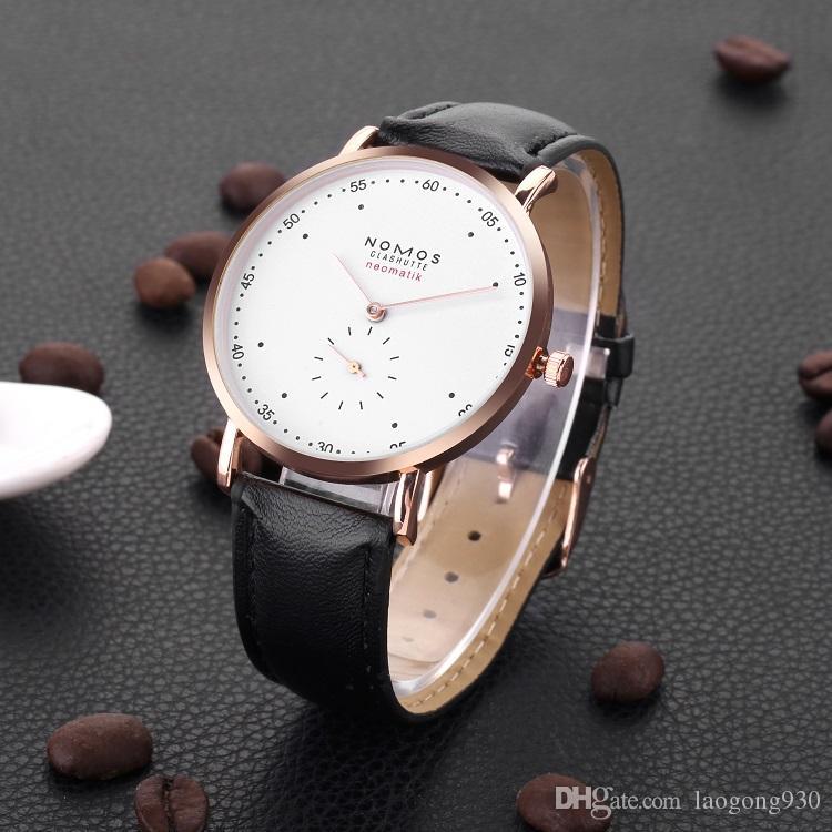 talla 40 11f27 4ccf3 Compre Relojes De Lujo Para Hombre NOMOS Relojes De Negocios 40 Mm Elegante  Reloj De Pulsera Casual De Cuero Reloj De Cuarzo Impermeable Para Hombres  ...