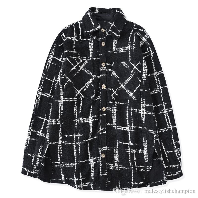 Роскошные мужские рубашки моды плед пэчворк Сыпучие рубашка конструктора Mens кардигана Tops