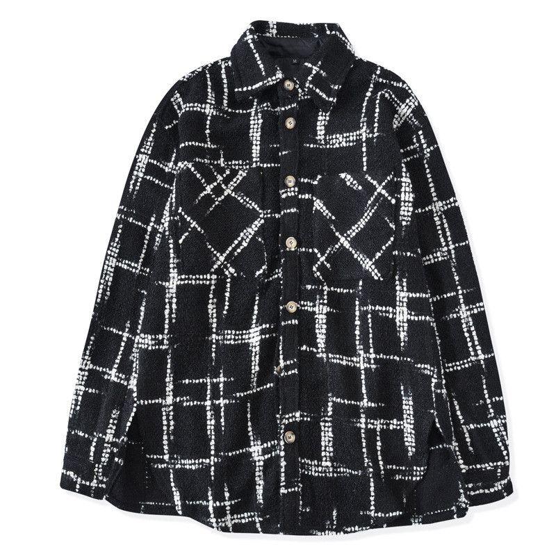 Mens de las camisas de lujo tela escocesa remiendo de la manera camisa floja diseñador para hombre Cardigan Tops