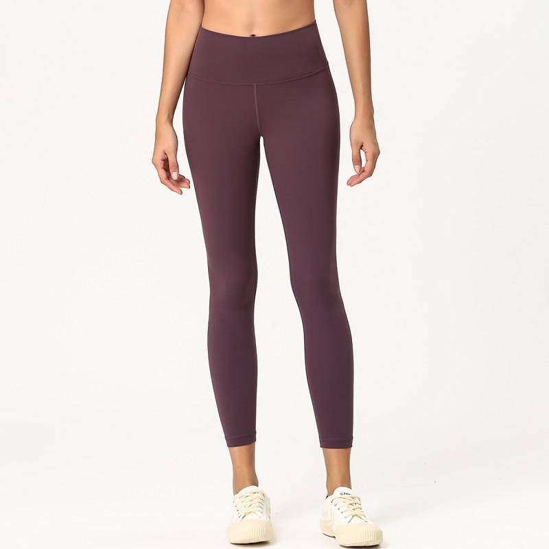 2020 Europa y América Nueva doble cara Yoga cepillado Pantalones Desnudos agradable a la piel de las mujeres de cintura alta Fitness Deportivo Yoga pantalones cosechados