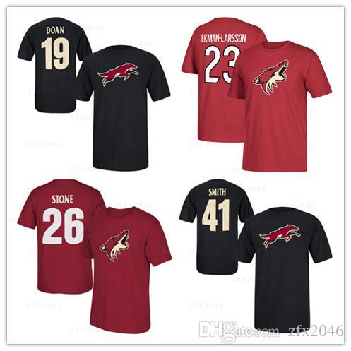 # 19 Shane Doan Black # 26 Michael Stone Men 's 아리조나 코요테스 하키 유니폼 팬 탑스 티셔츠 캐주얼 스포츠 셔츠 브랜드 로고 인쇄