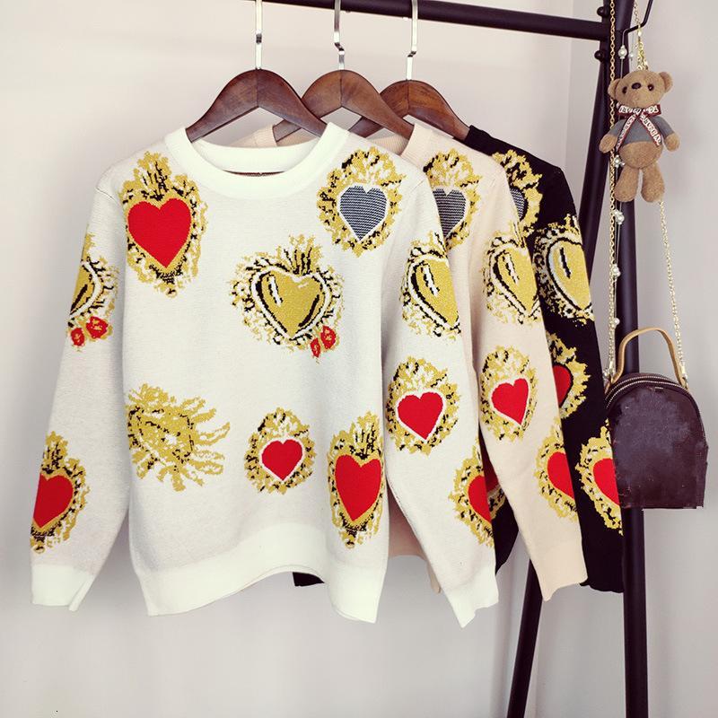 2019 Pattern Sweater Outono Coração Mulheres Winter Impresso Knitwear pulôver solto Jumper Vintag Quente Office Lady camisola de malha V191130