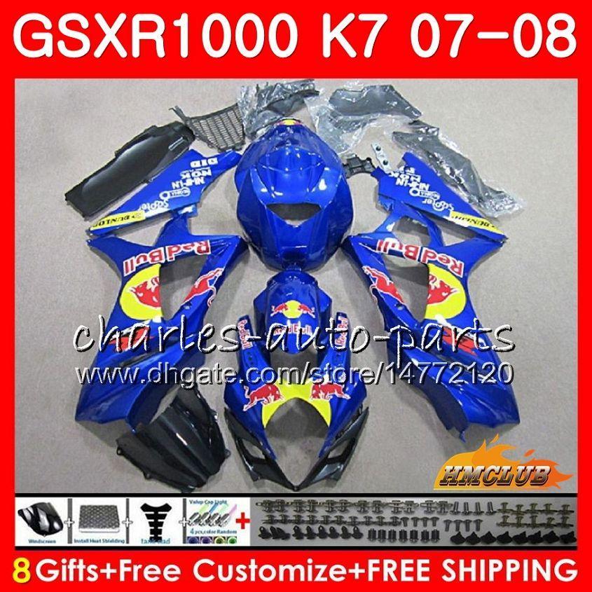 Karosserie für Suzuki GSXR-1000 GSXR1000 2007 2008 07 08 Bodys 12HC.53 GSX R1000 GSX-R1000 K7 GSXR 1000 Fabrik blau heiß 07 08 ABS-Verkleidungsset