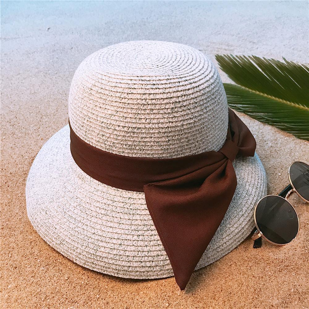 Femmes Straw Summer Beach Chapeau de soleil pour Lady élégant dôme large Brim seau Sunhat bowknot Chapeau Voyage