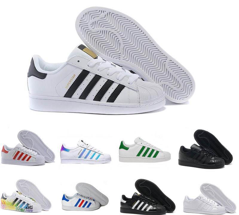 2020 New Adidas Originals Superstar blanc Hologram blanc irisé rouge Superstars des années 80 Fierté Sneakers Super Star Femmes Hommes Sport Chaussures Casual 36-45