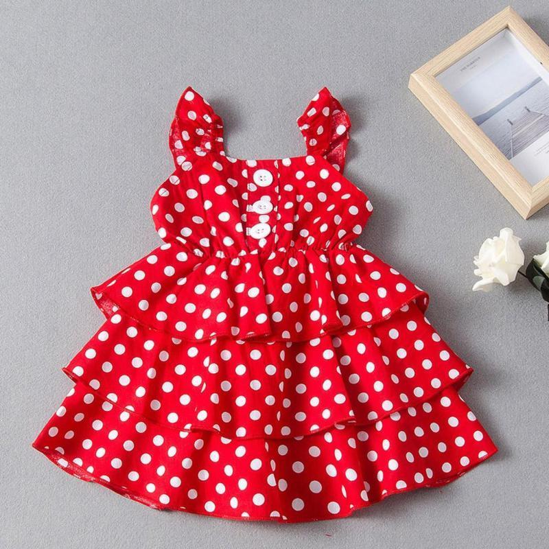 Toddler Kids Baby Girls Sleeveless Ruffle Polka Dot Princess Dress Outfit Fashion Infant Summer Sweet Cupcake Dress Clothes