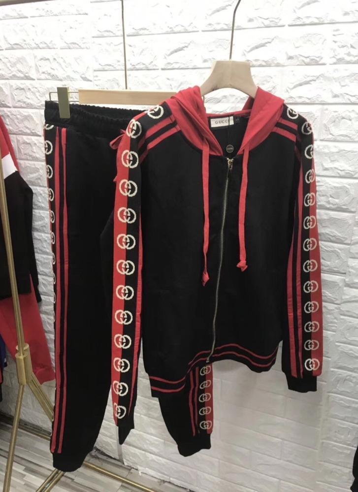 Neue Strickjacke lässige Hosenanzug, Kleidung schwarz rot 2020 neue schöne Frauensport elegant 031402