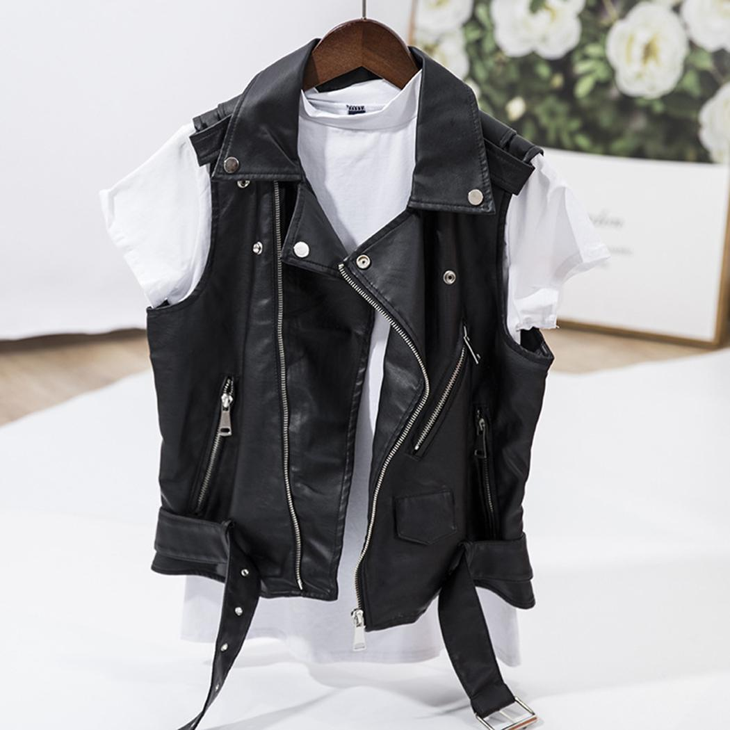 Punk Faux Leather Vest Jacket Women Sleeveless Motorcycle Biker Jackets Black Waistcoat Retro Cool Female Zipper Short Coat 4XL