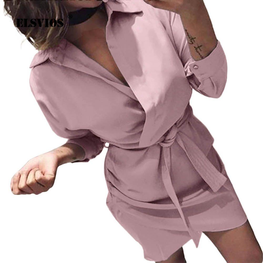 ELSVIOS 2019 Women Summer Shirt Dress Casual solid Long Sleeve Turn-Down Collar High Street Dress Blet Elegant Office Dresses