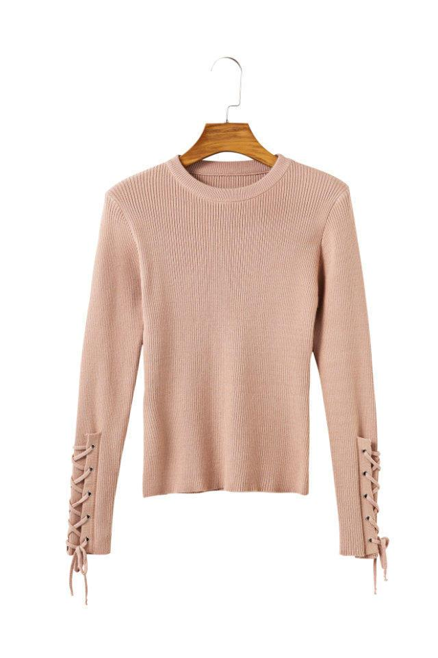 Fashion-Casual lace up sleeve knitted sweater Women jumper o neck knitting basic pullover 2017 Autumn winter sweater pullover