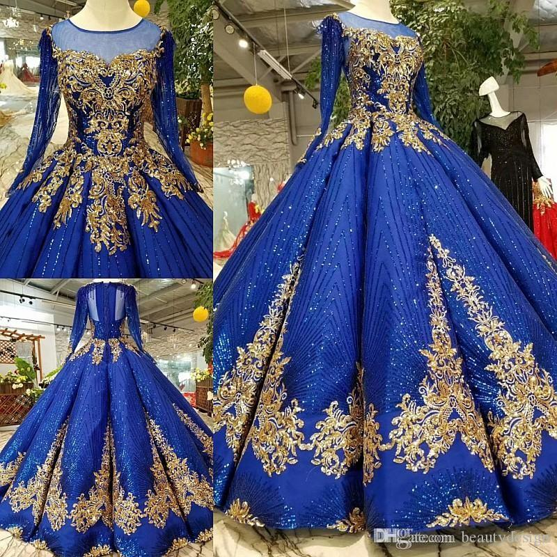 Discount Royal Blue Gold Lace Appliqued