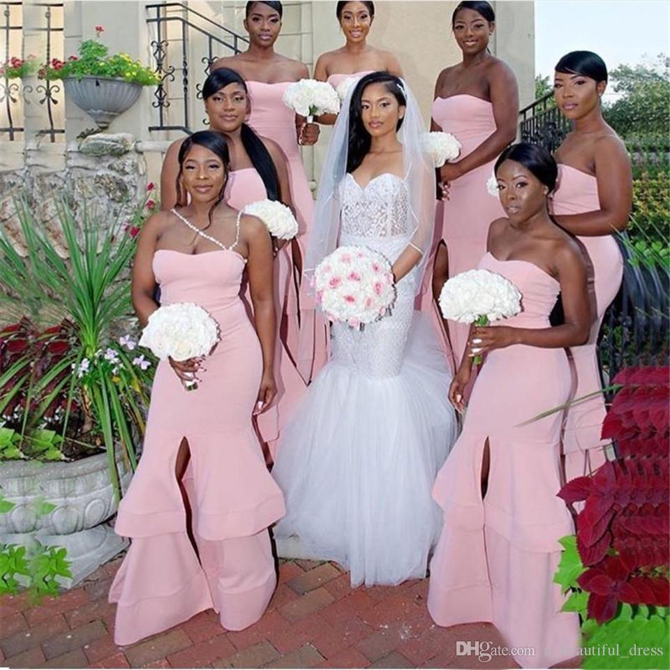 핑크 공주 저렴한 들러리 드레스 연인 프릴이 전면 분할 긴 이브닝 웨딩 게스트 드레스 플러스 사이즈 BD8915