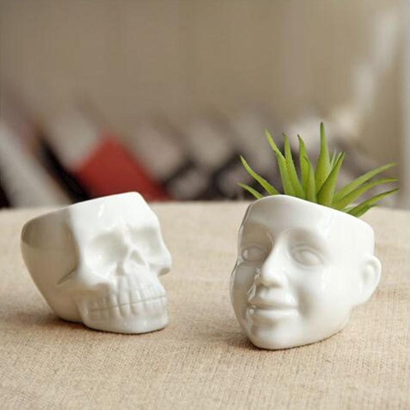1pc Flower Pot Capital Skull Flower Pots Planters Desktop Superclusion Home Decoration Modern Design Funds White Ceramic Pots