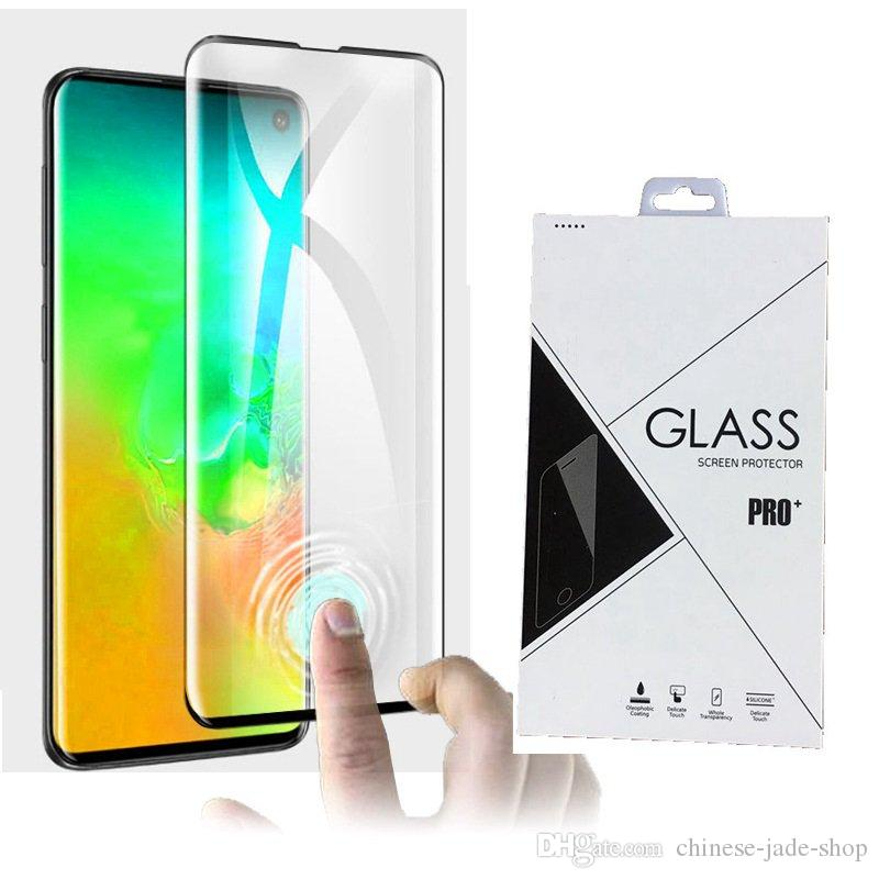 3D Curved Tempered Glass Screen Protector edge glue For Samsung Galaxy S10 S10 5G S10 PLUS 100PCS Retail package
