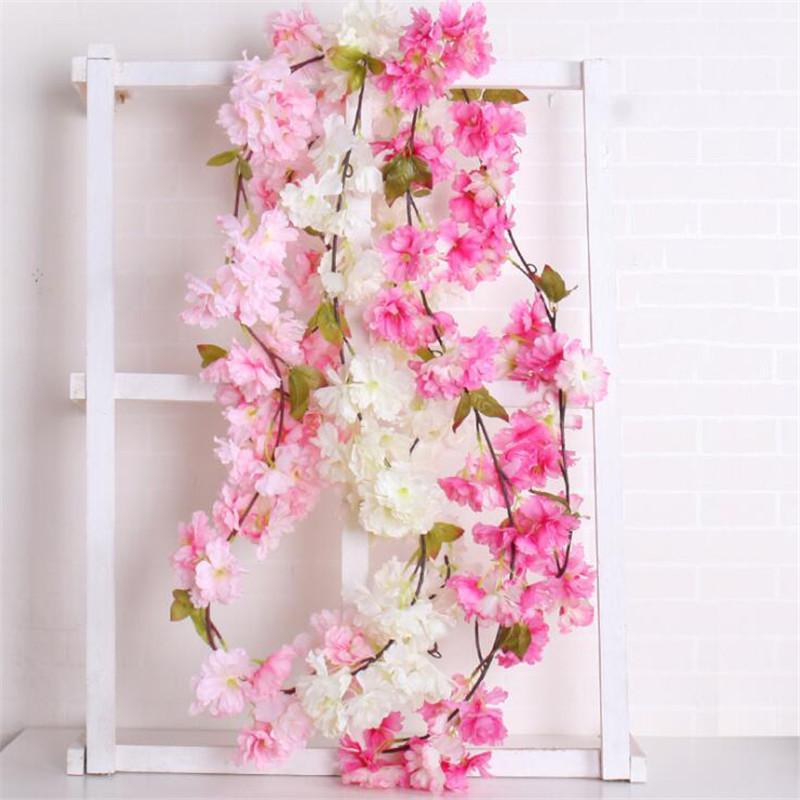 Настенный Моделирование Поддельный цветок Rattan Искусственный цветок Vine для венчания отдыха партии украшения комнаты Diy Фальшивая