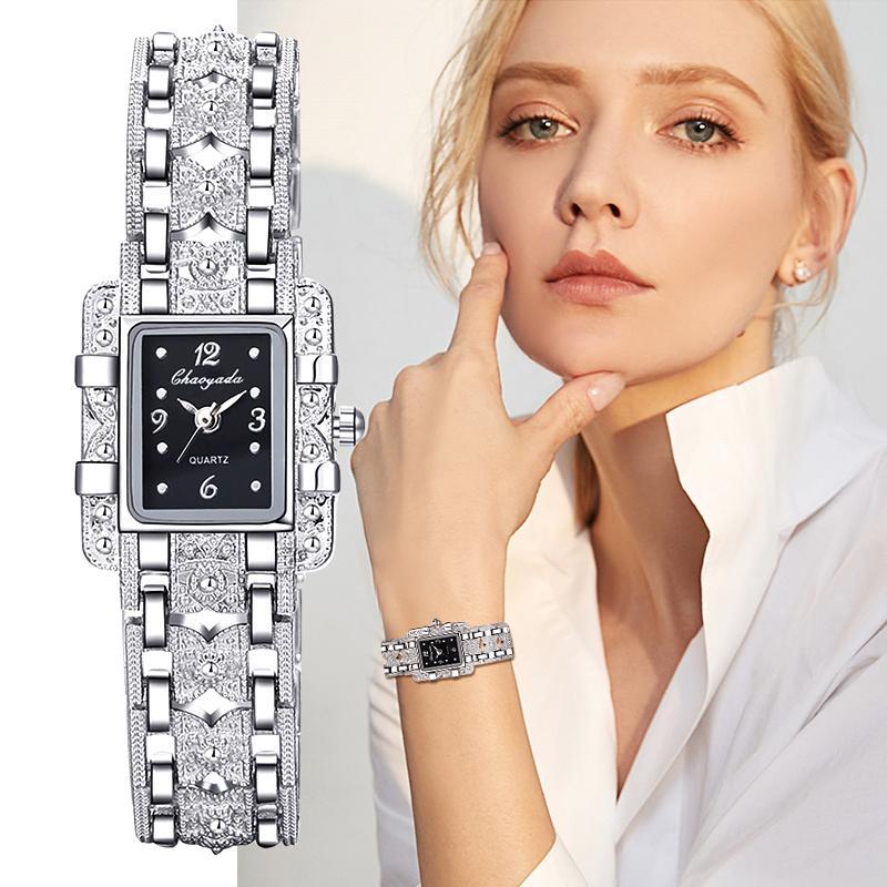 Las mujeres del reloj del dial del rectángulo de plata del acero inoxidable de cristal de cuarzo relojes de moda para señoras de las mujeres mayores relojes calientes Relojes Venta
