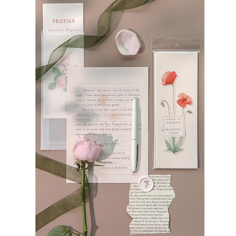 زهرة جميلة مغلف الكتابة ورقة مجموعة سلسلة حديقة 3 مغلفات 3 رسالة ورقة جديدة التوضيح مدرسة مكتبية