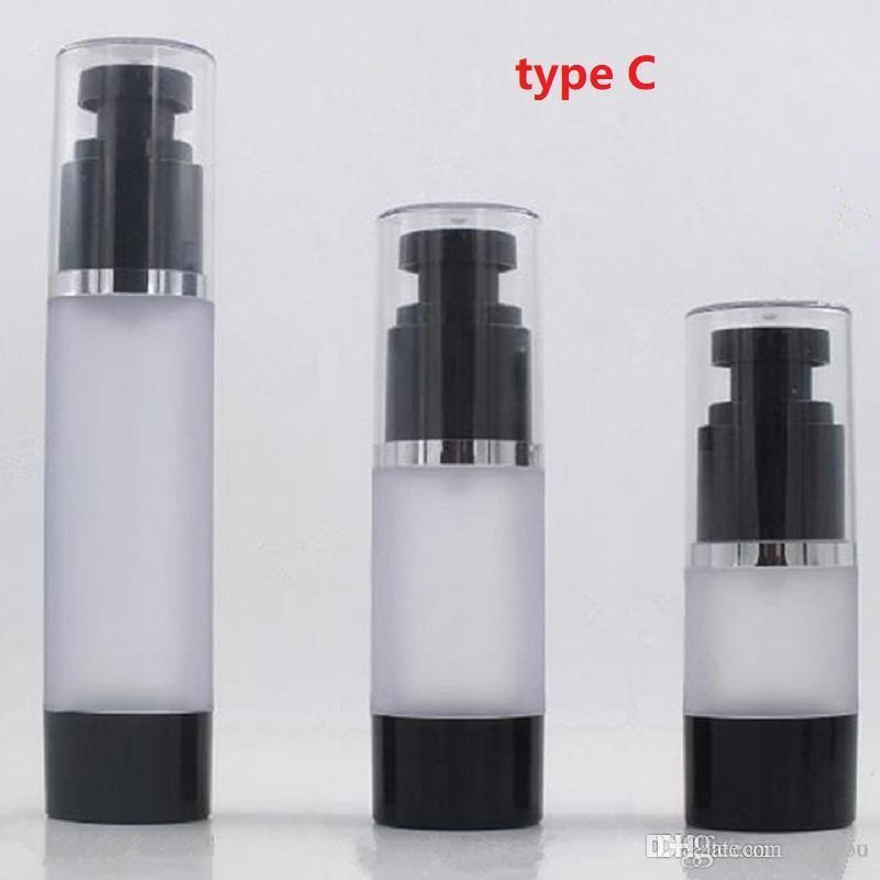 2020 nova 50ml 15ml 30ml fosco Airless garrafa com bomba Preto recarregáveis Lotion e Gel Dispenser viagem Container