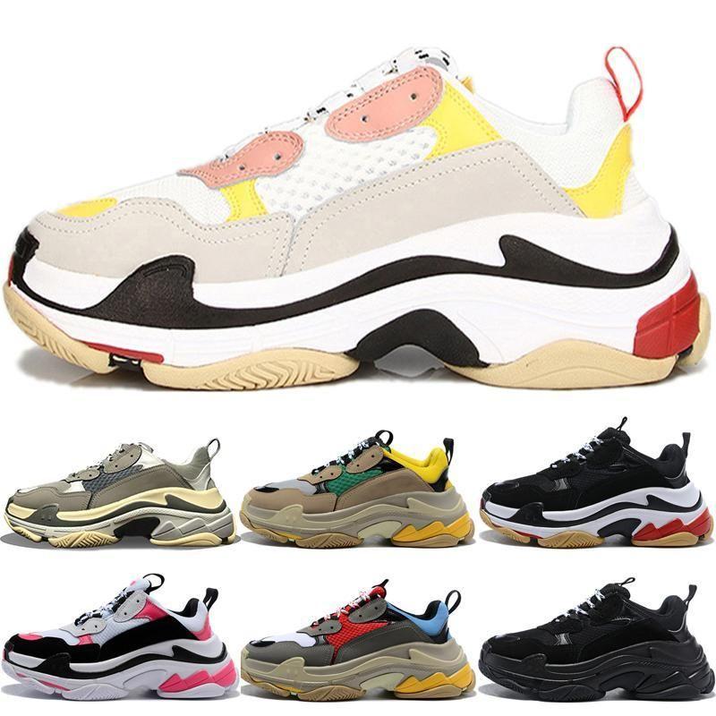 Moda Triple S 17fw las zapatillas de deporte para los hombres de las mujeres de los zapatos ocasionales de la vendimia Kanye West viejo abuelo instructor zapatilla de deporte de los zapatos de moda Eur 36-45