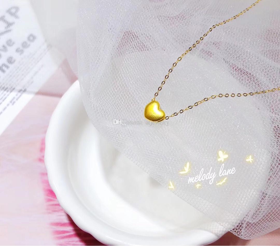 24 К желтое золото сердце Кулон с 18 К желтого золота чистого ожерелья Цепи Золотые Ювелирные Изделия Ожерелье изящных ювелирных изделий для Женщин Оптовая Продажа Фабрики