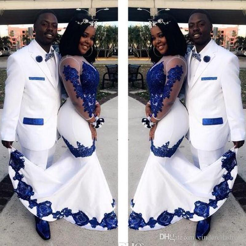 2020 New White Satin Royal Blue Lace Aso Ebi African Prom Dresses Long Illusion Sleeves Applique Evening Formal Gowns Pageant Celebrity Dres