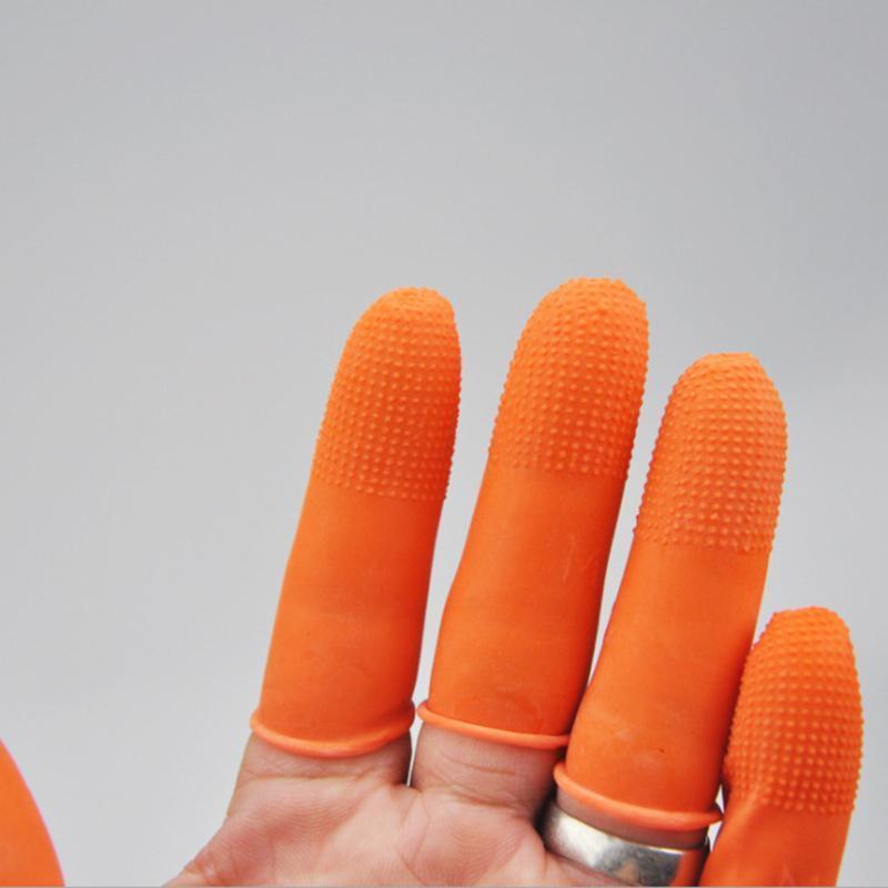 100 pièces / set Gants en latex Fingertip antistatique antidérapante jetable orange Gants Protection Fingertip, L