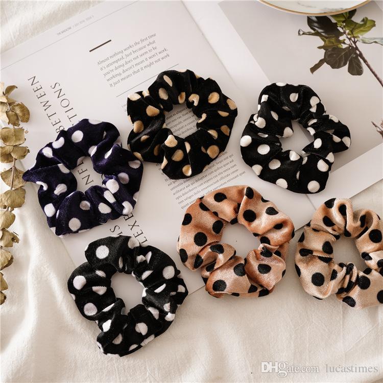 Женщины Девушки Velvet Dots Leopard Эластичные кольца Галстуки волос аксессуары хвостик держатель Hairbands резинкой Scrunchies