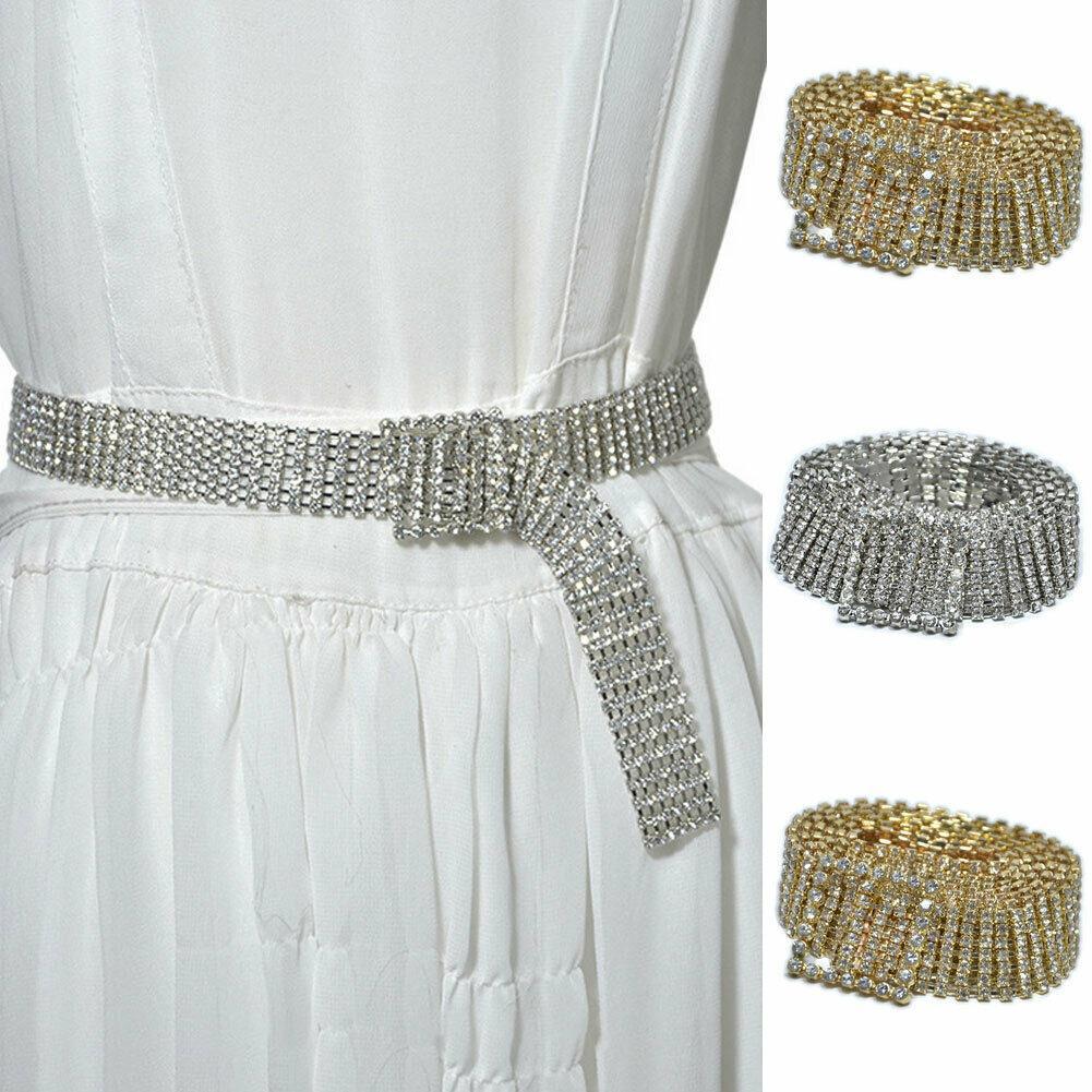 UK Women Belt Full Rhinestone Waist Chain Inlaid Waistband Shiny Crystal Diamond