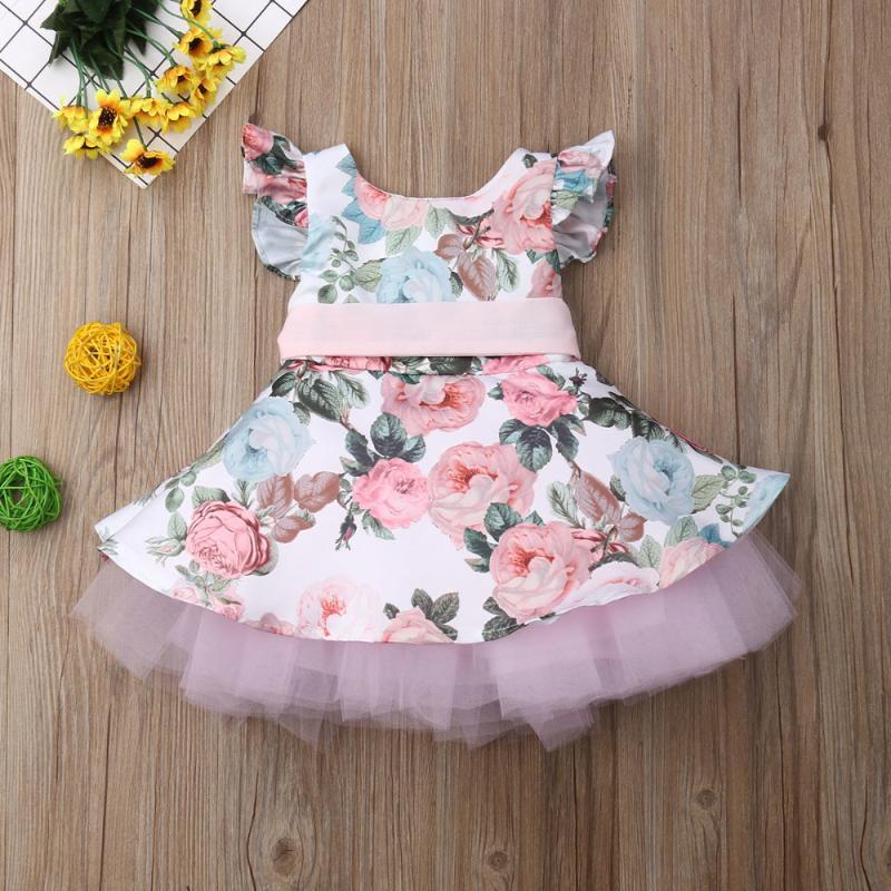 Roupas de bebê menina princesa Criança Recém-nascido Bebé Girls Dress Flower Lace Tutu festa de aniversário de casamento vestido para meninas Verão