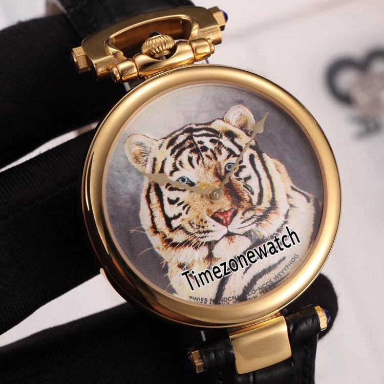 Nueva Bovet Fleurier Amadeo 46mm suizo de cuarzo Reloj oro amarillo de 18 tatuaje de tigre pintado oro marca correa de cuero Relojes Timezonewatch E05b2