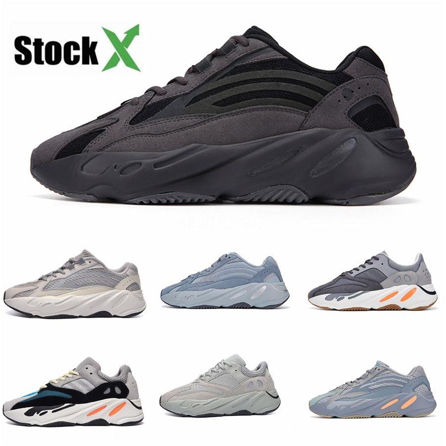 İyi 700 V2 Tasarımcı Üçlü Beyaz Zebra UV Işık Kanye West Sneakers Womens Koşu Ayakkabı Us5.5-11.5 # QA572