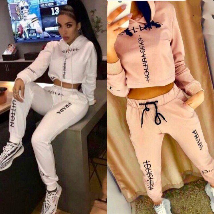 Kadınlar Tasarımcı Moda Eşofmanlar Marka Katı Renk Harf Baskı İki Adet Set Kadın Lüks Casual İki Adet Pantolon Yeni Giyim Seti