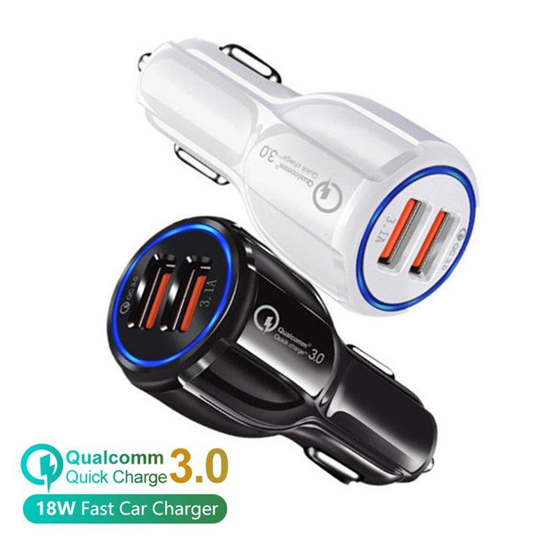 Car Charger QC3.0 Dual USB Charger 5V 3.1A 2.4A Power Adapter carregadores de carro para Samsung Nota 10 S8 S10 Huawei mp3