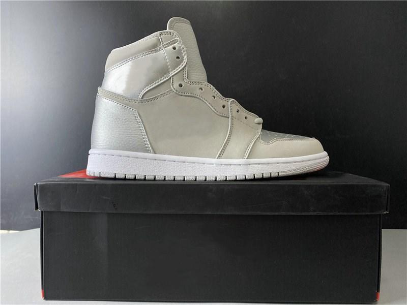 Autêntico designer de qualidade tênis de basquete 1 High OG Japão Neutral Grey Branco de prata metálico do Esporte Zapatos Sneakers Navio Com Box