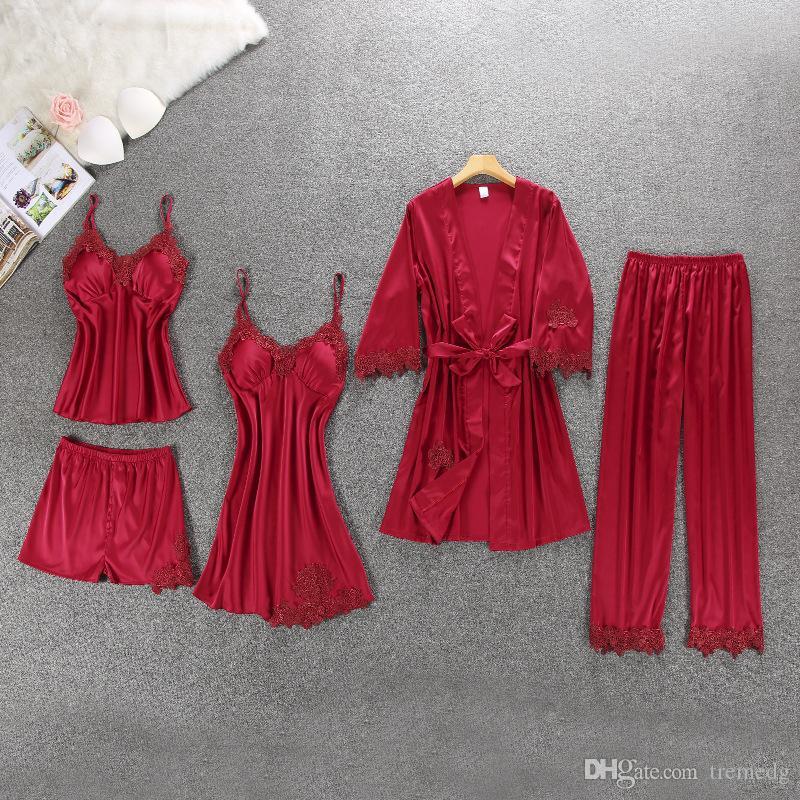Womens de cetim de seda 5pcs Ladies Suit Sexy Silk Satin Pijama Feminino Lace Pajama Set Pijamas Outono Inverno Início desgaste roupa de dormir para as Mulheres