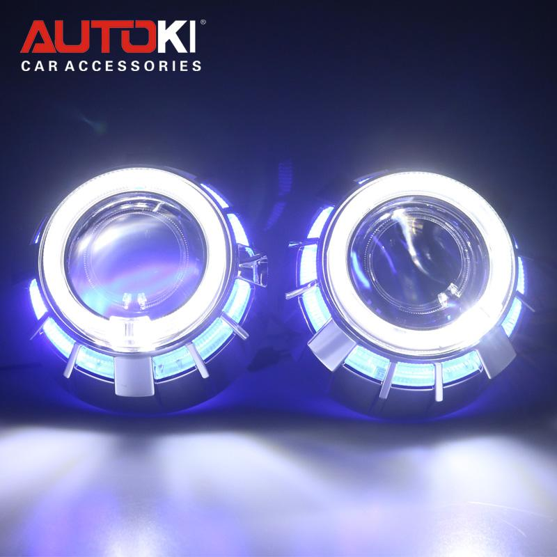 Autoki 듀얼 컬러 LED 천사 눈 DRL HID 자동차 프로젝터 렌즈 헤드 라이트 비스무트 크세논 개조 키트 미니 2.5 ''8.0 H1 H4 H7 업그레이드