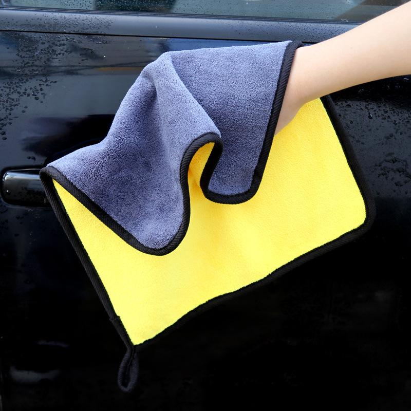 1pcs 30*30cm Car Wash Microfiber Towel Car Care Cloth Detailing Cleaning Drying Cloth Hemming Super Thick Plush