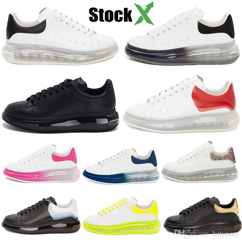 Moda Designer de sapatos de luxo Homens Mulheres Crystal Almofada Sole couro genuíno Platform Trainers Branca Sneakers corredor preto de veludo roxo